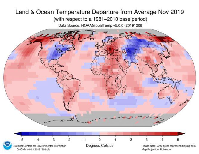Odchylenie od średniej temperatury w listopadzie 2019 roku (ncdc.noaa.gov)