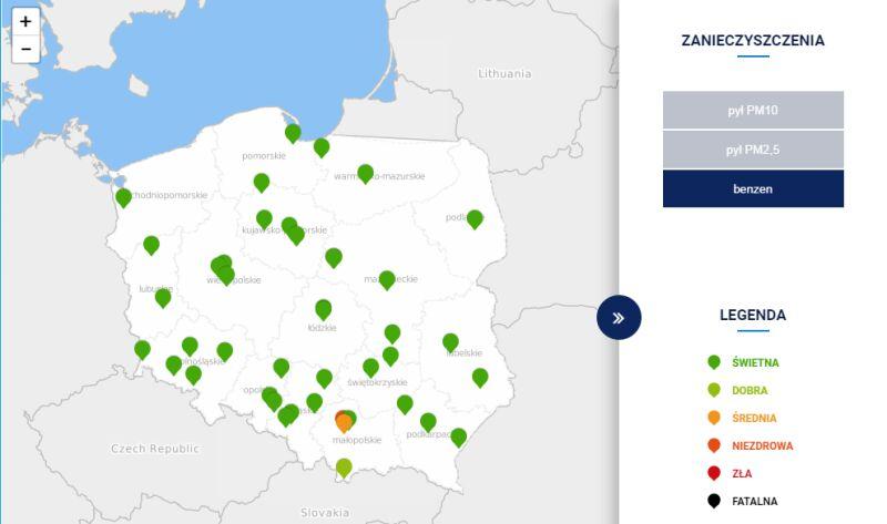Stężenie benzenu w Polsce około godz. 15