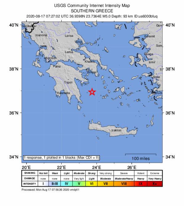 Trzęsienie ziemi w Grecji (USGS)
